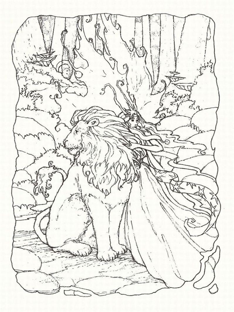 Coloriage adulte lion
