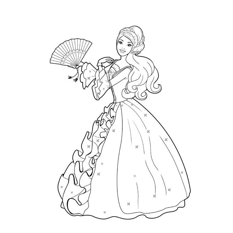Coloriage barbie au bal