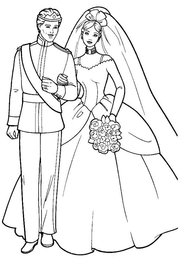 Coloriage barbie mariée