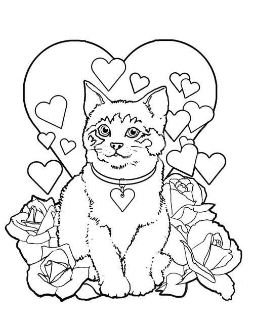 Coloriage chat avec coeur