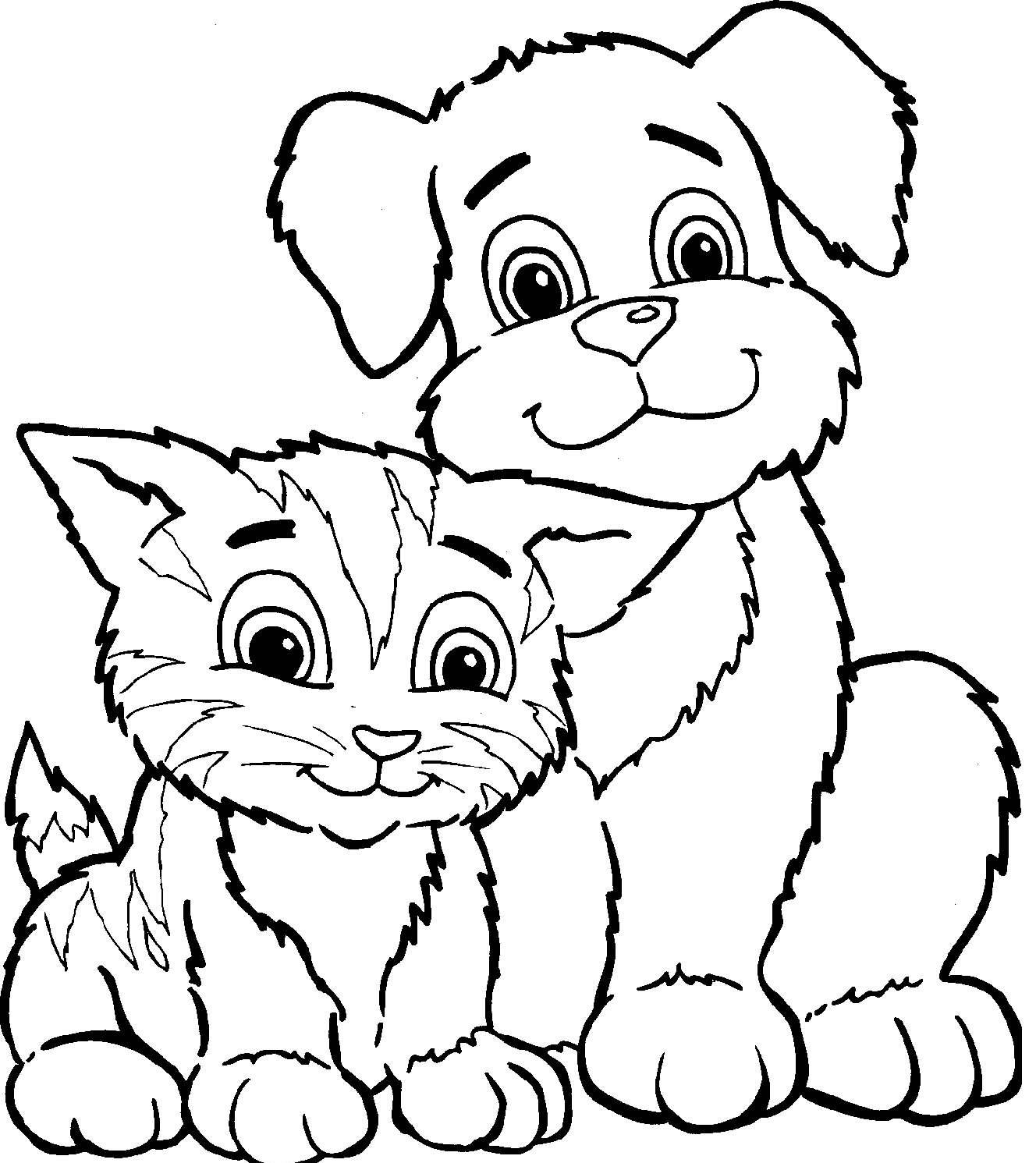 Coloriage chat chien