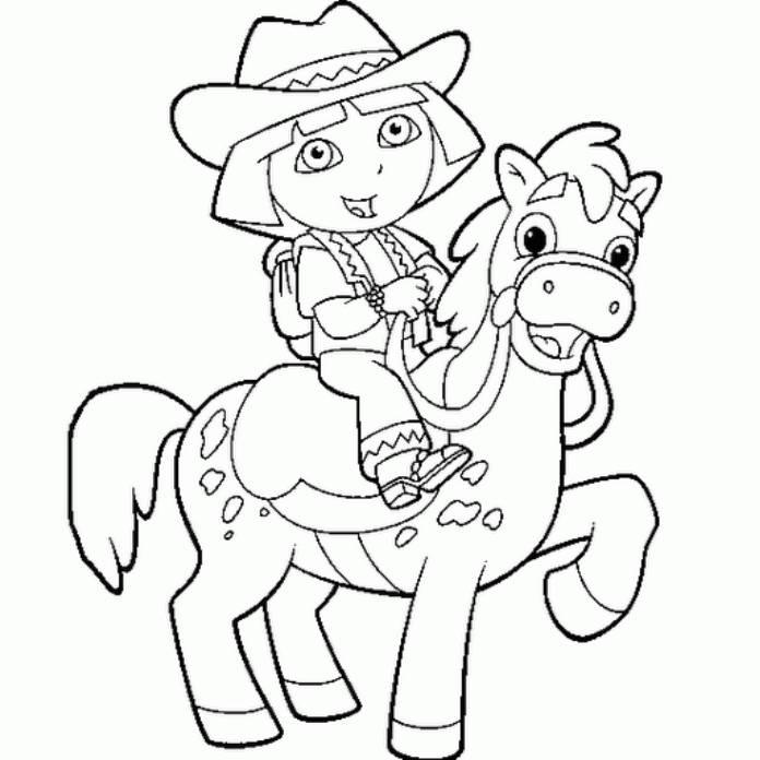 Coloriage dora cheval