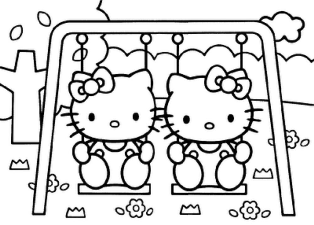 Coloriage hello kitty balançoire