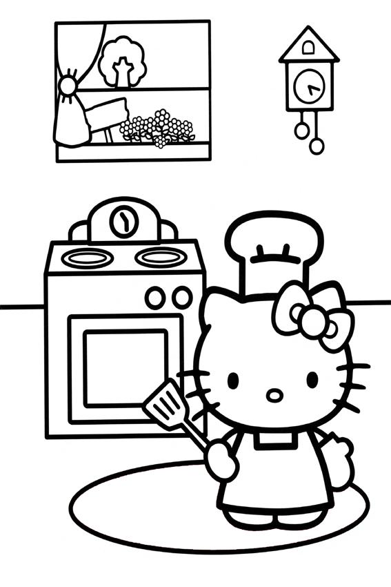 Coloriage hello kitty cuisine
