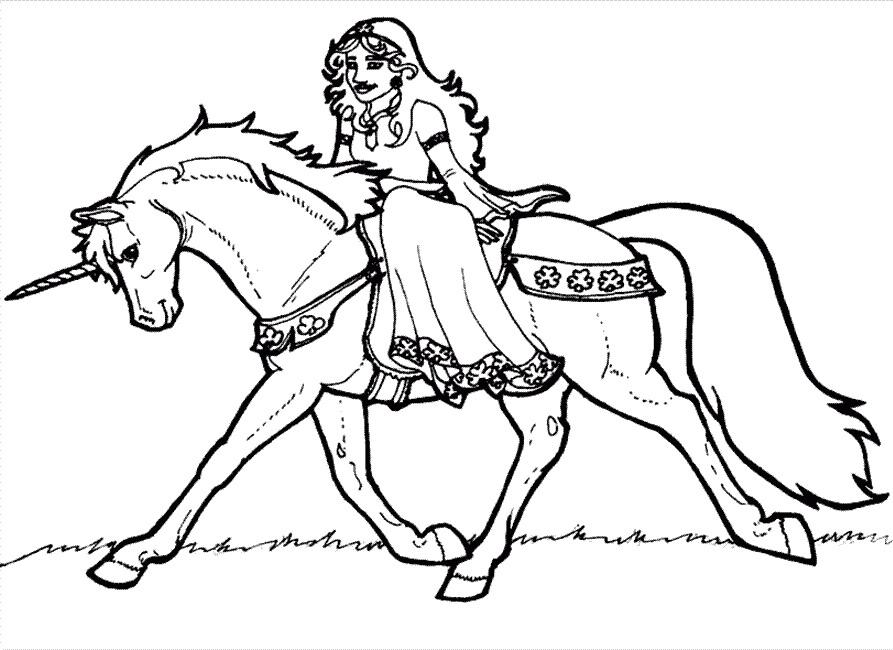 Coloriage a imprimer licorne et princesse