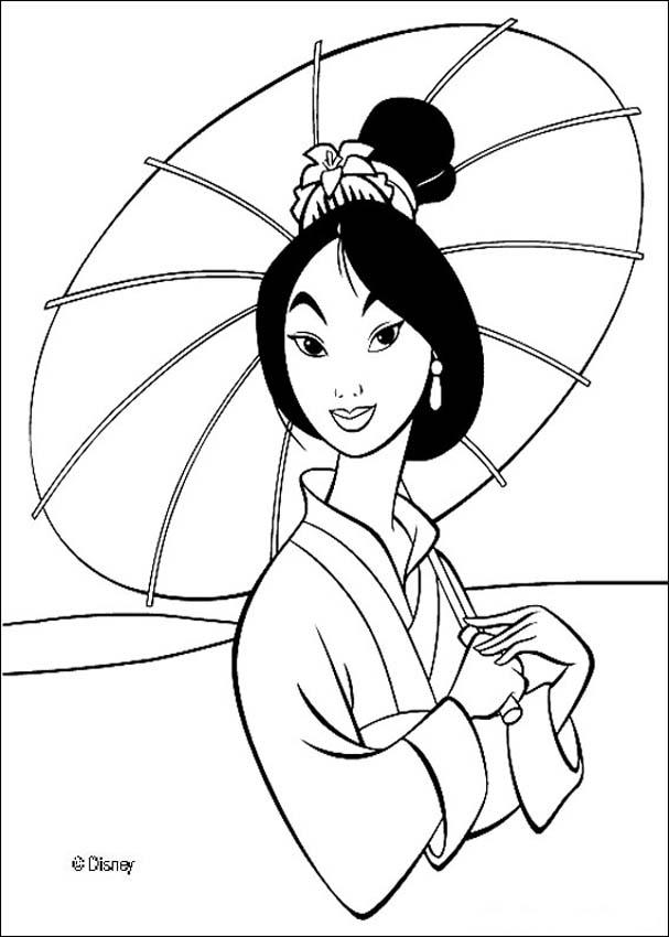 Coloriage imprimer princesse mulan
