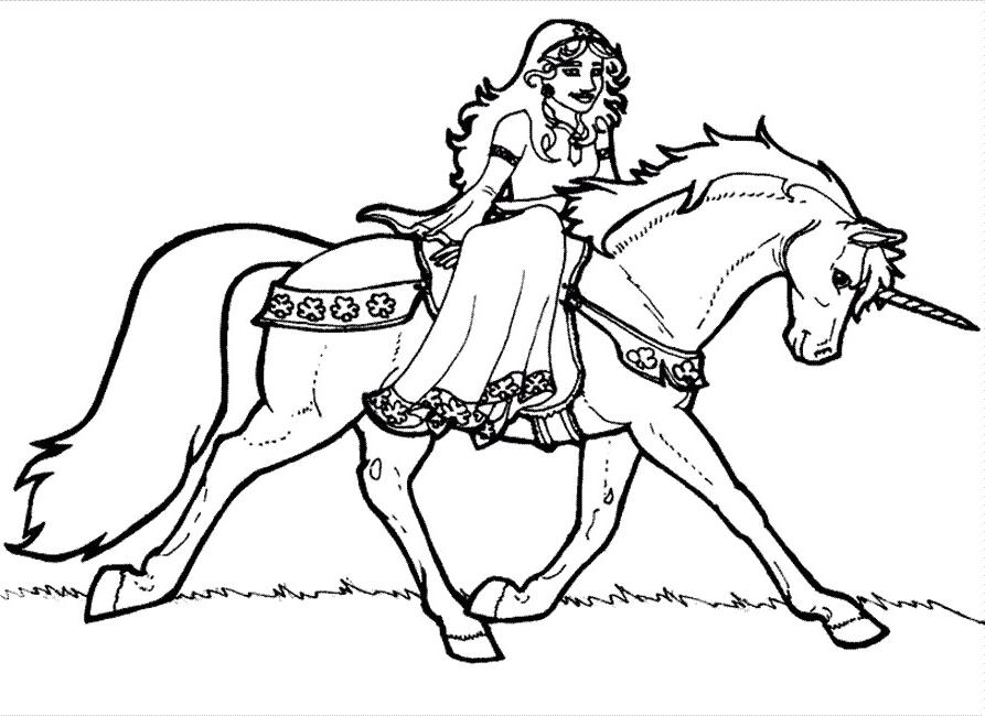 Coloriage licorne princesse ancenscp - Barbie et la licorne ...