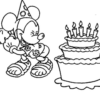 Coloriage mickey joyeux anniversaire