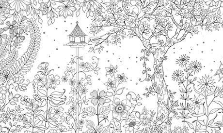 Coloriage pour adulte jardin secret