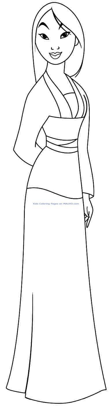 Coloriage princesse disney mulan