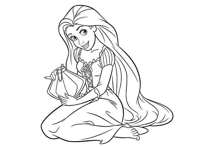 Coloriage princesse disney raiponce imprimer ancenscp - Dessin raiponce ...